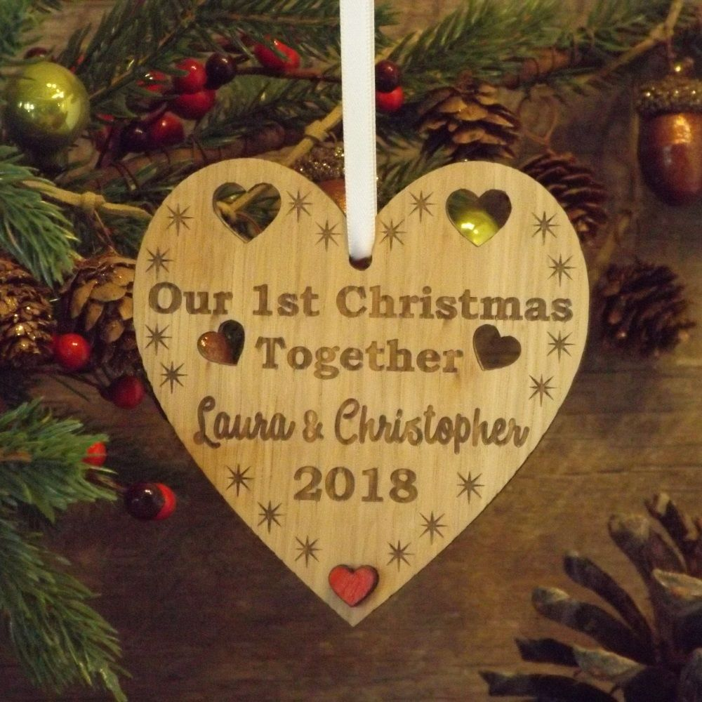 Our First 1st Christmas Together Personalised Heart Decoration Gift